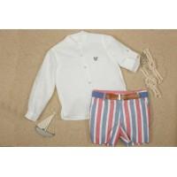 Traje infantil niño pantalón bermuda y cinturón. MARTA Y PAULA. 1202