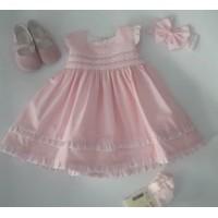 Vestido bebe rosa frunces SARDON 29LA 440
