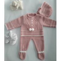 Conjunto polaina con capota rosa palo 520 baby