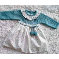 Vestido bebe punto-tela verde agua 526.4 BABY