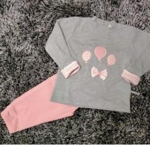 Chandal bebe globitos rosa y gris PC