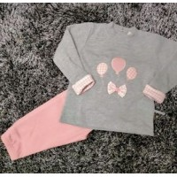 Chandal bebe globitos rosa y gris PC