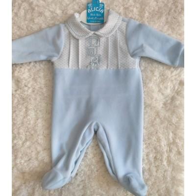 Pijama bebe terciopelo celeste150  BF