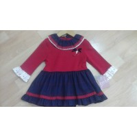 vestido infantil rojo familia London YOEDU ART5169