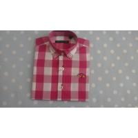 SPAGNOLO camisa popelin botón cuadros fucsia