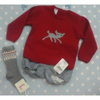 Gran leí conjunto ranita y jersey rojo con cervatillo