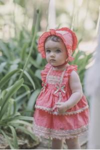 Vestido con braguita y capota  bebe coral DOLCE PETIT 2120