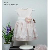 vestido bebe ceremonia crudo -rosa LILUS 27112