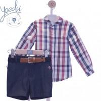 Traje niño pantalón bermuda y cinturón 4029 YOEDU