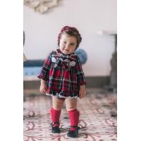 DOLCE PETIT conjunto bebé cuadros escoceses sin capota 2157-23