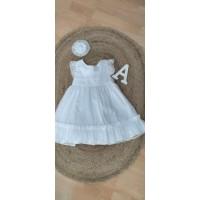 Vestido niña plumeti blanco 5553 ANA CASTEL