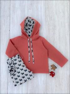Conjunto pantalon niña perritos color teja CP 58