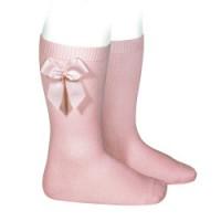 Calcetin alto liso con lazo 2482 color rosa palo 526