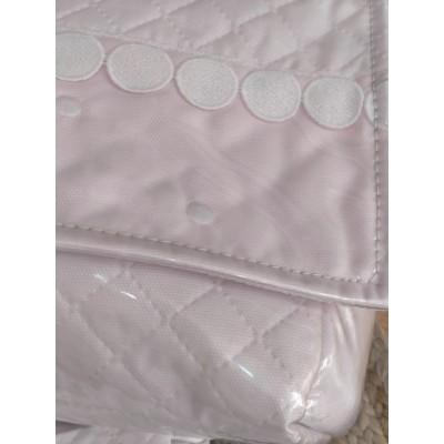 Conjunto bolso y colcha capazo rosa pique Artesania CHARI 9372