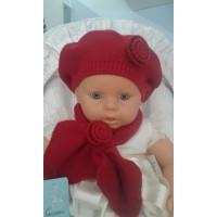 Conjunto boina y bufanda rojo GRANLEI 1411
