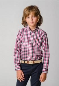 camisa  popelin botón 4525 cuadros fucsia