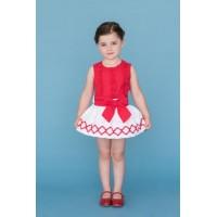 Conjunto falda y blusa blanco rojo DOLCE PETIT