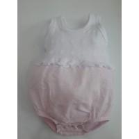 Pelele hilo blanco y plumeti rosa DIACAR 258