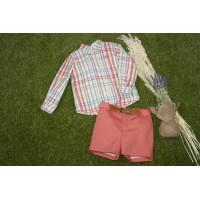 Traje infantil niño pantalón bermuda y cinturón. MARTA Y PAULA. 1209