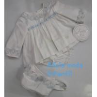 Vestido braguita y capota bebé. Celeste. 2030. DOLCE PETIT