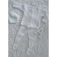 conjunto bebe polaina jersey y capota blanco BABYDIF 801303