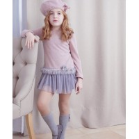 Vestido punto vigore rosa palo con falda tul 2011802 NEKENIA