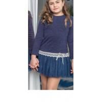 Vestido punto vigore con falda tul azul 201811 NEKENIA