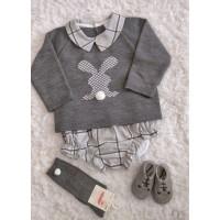Conjunto jersey  conejo ranita gris Baby 523.5