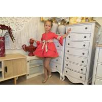 Vestido media manga viella roja con sobrefalda 1811821 NEKENIA