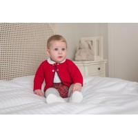 Camisa manga larga, pantalón corto y rebeca.Rojo. 2053 DOLCE PETIT.