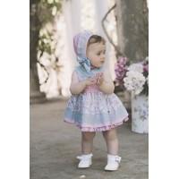 vestido bebe con braguita y capota rosa 2106 DOLCE PETIT