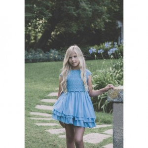 Vestido niña azulon con guipur DOLCE PETIT 3006