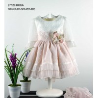 Vestido bebe ceremonia crudo rosa LILUS 27120