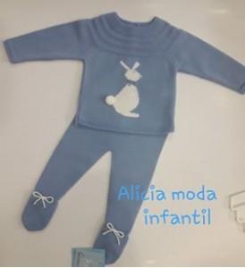 conjunto punto jersey y polaina conejo azul cielo  GRANLEI