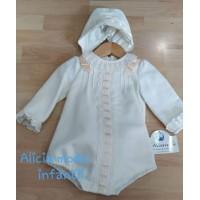 Pelele gorro bebé niño MIRANDA 0022 COLOR CRUDO