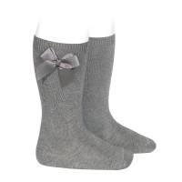 calcetin alto liso con lazo  2482gris color 230