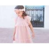 Vestido tul plumeti rosa palo   EVE CHILDREN 3064