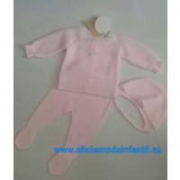 conjunto 3piezas rosa bebe 881031 BABIDIF